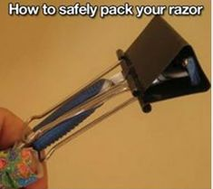 how to safely pack a razor in your toiletries bag