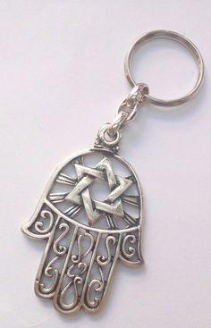 Keychain Hamsa Hai Magen David Israel Jerusalem - Key Ring Judaica