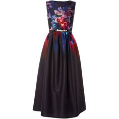 Little Mistress Sleeveless Floral Printed Fit and Flare Dress (96 CAD) ❤ liked on Polyvore featuring dresses, black multi, women, floral sleeveless dress, midi dress, black floral print dress, sleeveless dress and floral dress