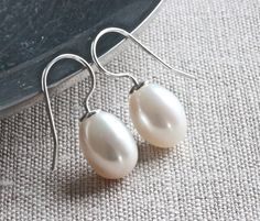 Large White Pearl Earrings with Single by ThePassionatePearl