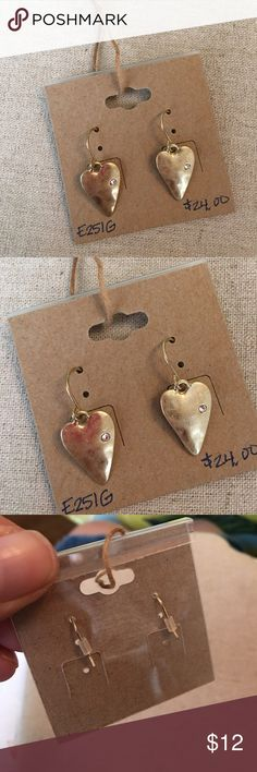 Take Heart Drop Earrings Worn gold plated, clear crystal, French wire, 1 inch approximate drop length. Never worn, displayed only. Chloe + Isabel Jewelry Earrings