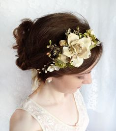 woodland wedding headpiece, cream flower, champagne wedding, green bridal flower hair wreath - ANDALASIA - rustic bridal hair accessories via Etsy