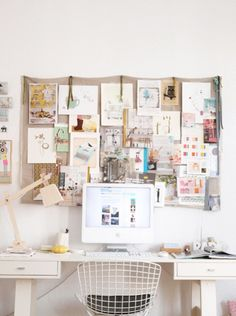 Hanging all important papers and pictures on a cute corkboard above your desk is a nice way display your inspirations.