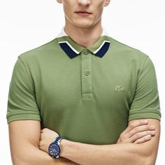 This classic polo is finished with a color block jacquard collar and a rubber croc on the chest. Its slim fit flatters your figure with a pair of leather boots. Collar Designs, Shirt Designs, Lacoste, Sell Old Clothes, Slim Fit Polo, Ralph Lauren Style, New Fashion Trends, Polo T Shirts, Western Outfits