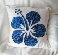 White denim and blue batik hibiscus flower pillow by BeachRebel, $37.00