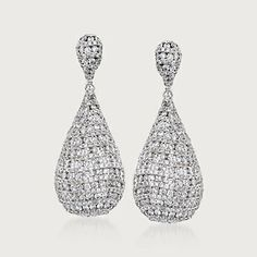 6.50 Carat Total Weight Pave Diamond Earrings in 18-Karat White Gold (767931) | Sidney Thomas