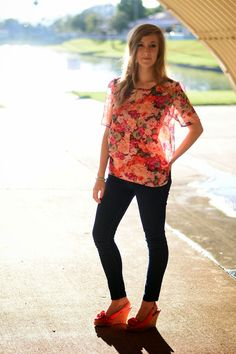 floral blouse and wedges