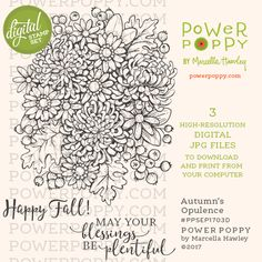 Autumn's Opulence Digital Stamp Set | Power Poppy by Marcella Hawley