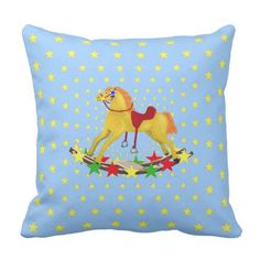 Shop Rocking Horse Star Ride Throw Pillow created by anuradesignstudio. Yellow Birthday Parties, Horse Star, Custom Pillows, Your Design, Horses, Throw Pillows, Make It Yourself, Stars, Fabric