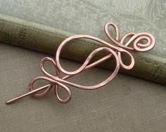 Yin Yang Harmony Copper Shawl Pin, Hair Pin, Scarf Pin, Hair Barrette, Women, Long Hair Accessories, Wire