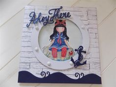 Gorjuss - Little Fishes Stamp - May demo make Pop Up Cards, Cool Cards, Little Girl Crafts, Diy And Crafts, Paper Crafts, Nautical Cards, Kids Cards, Craft Cards, Scrapbooking