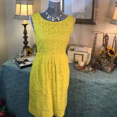"J. Crew Darling Lemon Yellow Spring Cotton Dress J.Crew Lovely Springtime Yellow Cut out Floral Dress.  Beautiful Dress with Cotton Lining and adorable functional side pockets!  Measures Bust 16.5""Flat / Waist 14""/ length 34.5 J. Crew Dresses Midi"