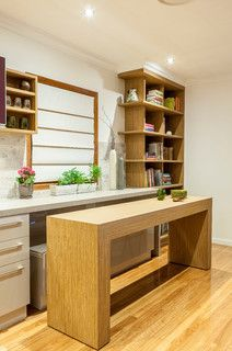 Ikea credenze cucina kitchen contemporary with pull-out island hidden kitchen storage pull-out table Hidden Kitchen, Small Space Kitchen, Small Spaces, Rustic Wood Floors, Tiny House Trailer, Kitchen Colour Schemes, Multifunctional Furniture, Kitchen Benches, Kitchen Worktop