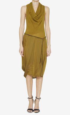Donna Karan dark mustard silk dress
