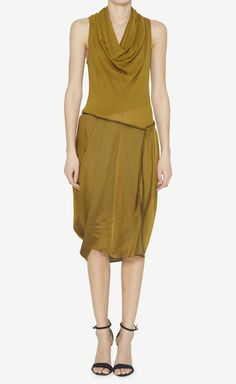 Donna Karan dark mustard silk dress