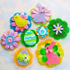 Felt and Rhinestone Easter Scrapbooking Embellishments.