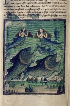 "Bodleian Library, MS. Douce 134, f. 042v (""The third sign: the gathering together of the fish and sea monsters""). Livre de la Vigne nostre Seigneur. France, c. 1450-1470"