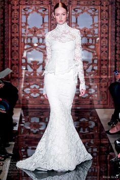 Reem acra wedding dresses fall 2013 long sleeve high neck