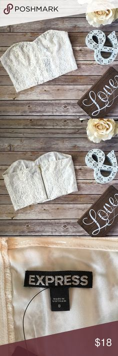 NWT Express Lace Crop Top 💛 Beautiful off-white lace crop top. Exposed back zip in gold color. Condition: NWT.  🚫 Smoke-free and pet-free home 🐶 Express Tops Crop Tops