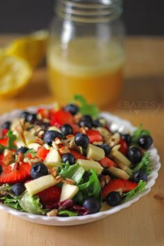 This quick and easy Honey Lime Vinaigrette goes great with a delicious Apple Berry Pecan Salad and makes a great summer lunch!