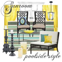 POOLSIDE SUNROOM - Yellow is a favorite color and the client already owned the pretty striped indoor/outdoor rug. With those things in mind and a big blue pool visible through the french doors, a crisp scheme of yellow, aqua, black and white came together in durable materials like rattan and metal and resilient performance fabrics.