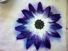 Senetti blue bicolour painting on fabric using fabric paint as a medium. Available on Etsy soon