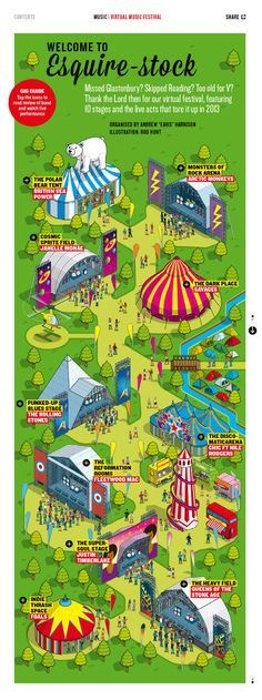 Esquire-stock Music Festival Map by Rod Hunt, via Behance