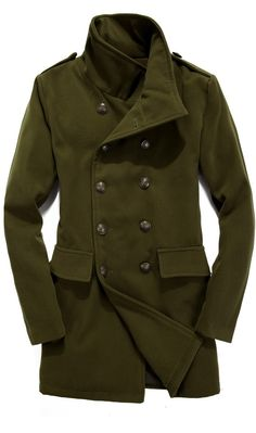Revers Neck Long Length Winter Men Casual Army Green Blends Coat