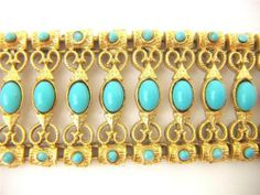 Vintage Etruscan Revival Turquoise Gilt Bracelet 1950s super