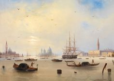 Carlo Bossoli (1815 Lugano - 1884 Turin) - View of the Bay of St. Marks, Venice