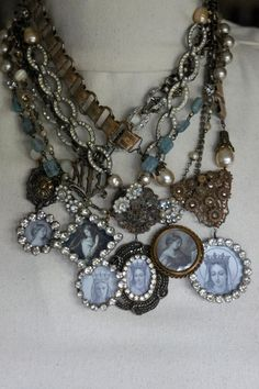 Vintage assemblage prayer card necklaces by French Feather Designs