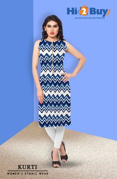 Women's Blue Printed Polycrepe Sleeveless Kurti  #Hi2buy #OnlineShoppingDestination #SleevelessKurti  #Womenkurtis