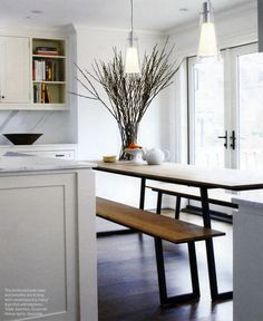 another delicious table with clean lines. long table, small space... interesting