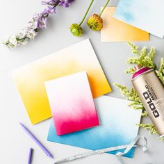 Make and embellish notecards and greeting cards with these 5 DIY ideas, including ombre spray painted cards.