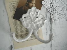 shabby chic white hook wall hook rustic decor coat by ShabbyRoad Blanc Shabby Chic, Jewelry Hooks, Blue Contacts, Back Plate, Coat Hooks, Very Lovely, All White, Wall Hooks, White Paints