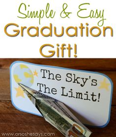 Simple & Easy Graduation Gift - Money Paper Airplane & Printable ~ Or so she says...