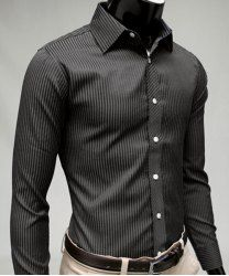 Fitted Stylish Shirt Collar Two Color Splicing Long Sleeve Polyester Shirt For Men (BLACK,L) | Sammydress.com Mobile