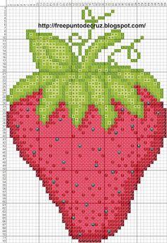 Dibujos Punto de Cruz Gratis: Strawberry cross stitch pattern - Fresa punto de cruz