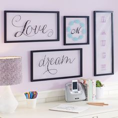 Framed Glass Sentiment Art! Buy inexpensive frames in different sizes. Remove back.  On Glass , Stencil or add word rub-on's, or colored or stamped paper of your choice. Beautiful and easy!!