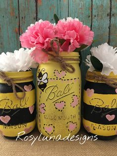 Bumble Bee-Hand Painted-Mason Jars-birthday gift-housewarming gift-office decor-bumblebee home decor*coupon code included* by RosyLunaDesigns on Etsy https://www.etsy.com/listing/400003245/bumble-bee-hand-painted-mason-jars