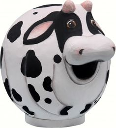 Cow Gourd Shaped Birdhouse. A cute Cow Birdhouse painted white with black patches will make a great home for your backyard birds. $42.99.  https://www.happyholidayware.com/product/cow-gourd-shaped-birdhouse/