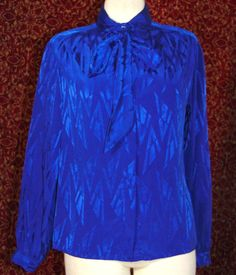 THE ASCOT COLLECTION by LADY ARROW VINTAGE blue long sleeve blouse 10 (TF-01K6) #TheAscotCollection #Business