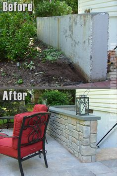 Before and after photo of a cement patio half wall remodeled with artificial cobblestone panels.