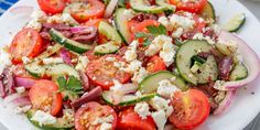 Best Waldorf Salad Recipe - How to Make Waldorf Salad Tomato Salad Recipes, Greek Salad Recipes, Salad Recipes For Dinner, Dinner Salads, Feta, Best Greek Salad, Cooking Recipes, Healthy Recipes, Healthy Dinners