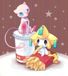Some of the worlds cutest legendary's are enjoying a little happy meal.