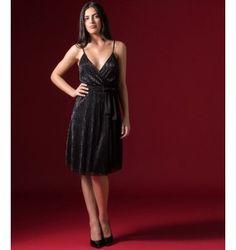 Πλισέ Midi Φόρεμα Lurex με Ραντάκια - Μαύρο