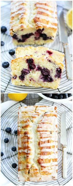 Lemon Blueberry Loaf Cake Recipe on twopeasandtheirpo... This simple lemon loaf cake is bursting with blueberries! It is the BEST cake recipe!