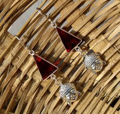 Red Quartz Buddha Head Charm Earrings / Red by gemsnjewelryworld