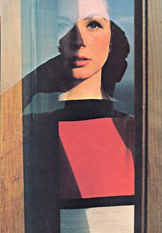Suzy Parker, photo by Bert Stern made through the window of a doorway in bright, direct sunlight.
