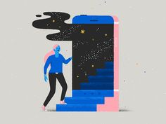 Stairway to somewhere else vector star cloud smoke skull dimension character universe space stairway door phone Graphic Design Books, Graphic Design Inspiration, Flat Illustration, Graphic Design Illustration, Arte Cyberpunk, Isometric Design, Web Design, Motion Design, Design Elements